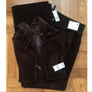 New York and company brown velour sweatsuit